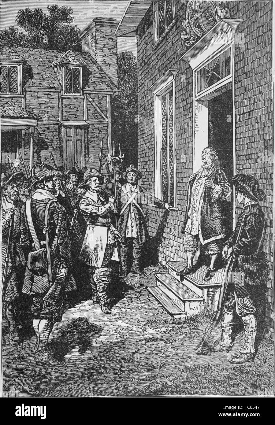 Engraving of Governor William Berkeley speaking to the rebels, from the book 'A popular history of the United States of America, from the aboriginal times to the present day' by John Clark Ridpath, 1893. Courtesy Internet Archive. () Stock Photo