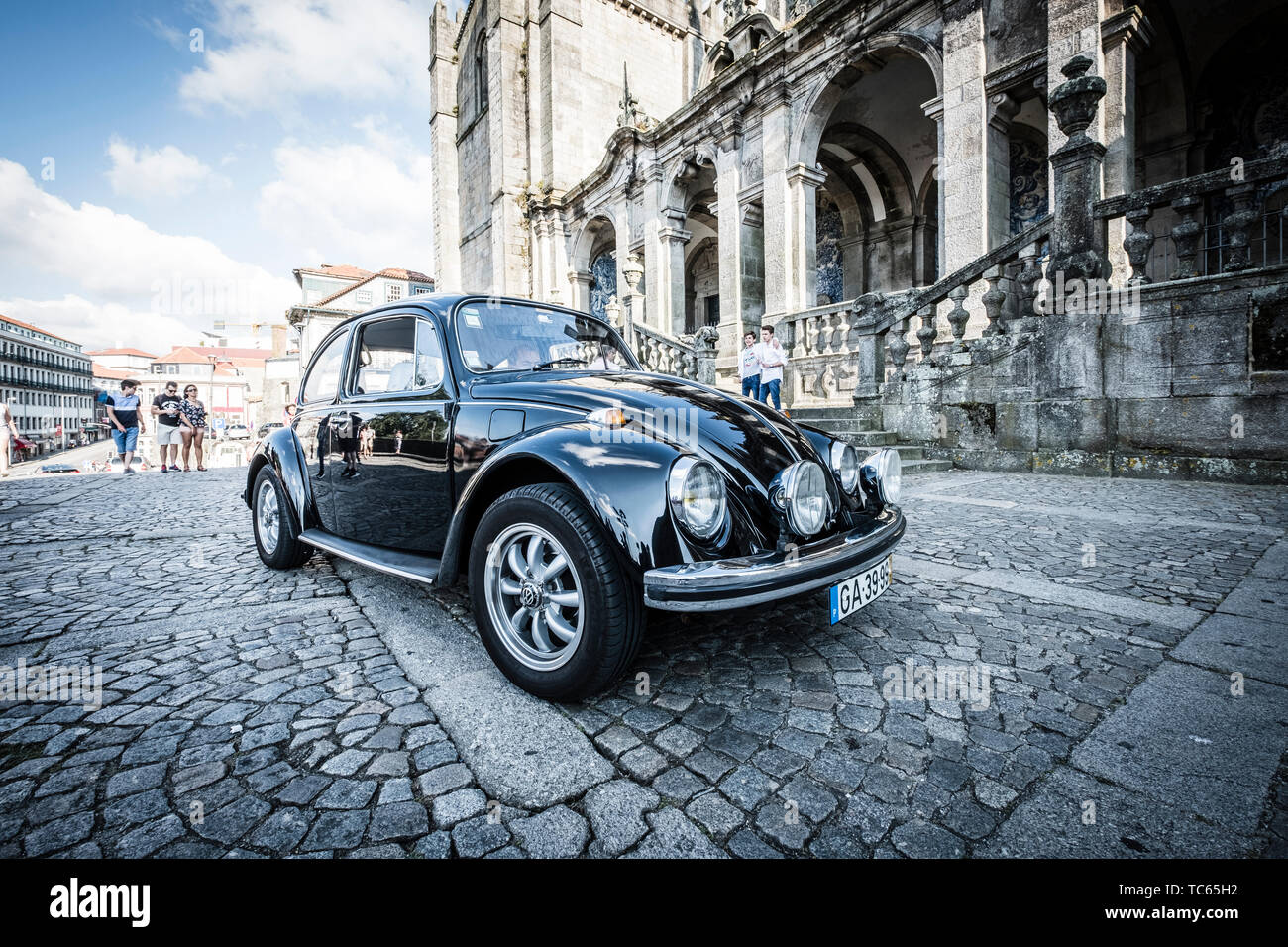 Old VW Beetle in the streets of Porto, Portugal Stock Photo