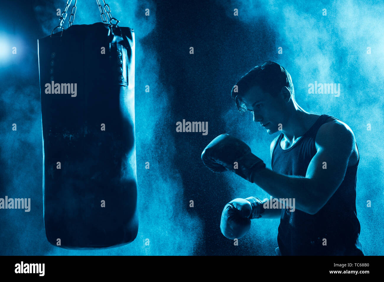 Concentrated boxer in boxing gloves training with punching bag in dark - Stock Image