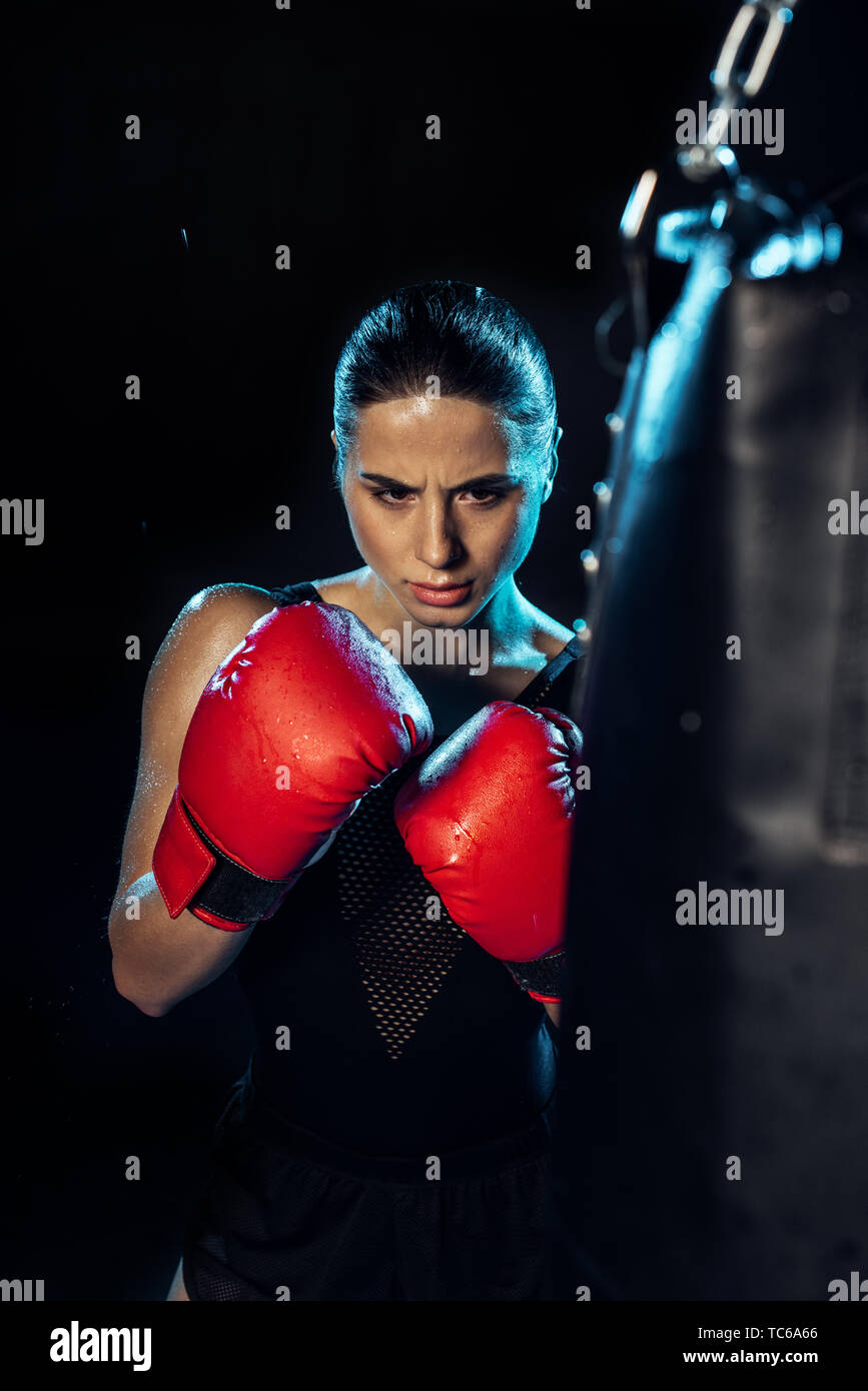 Concentrated boxer in red boxing gloves looking at punching bag on black - Stock Image