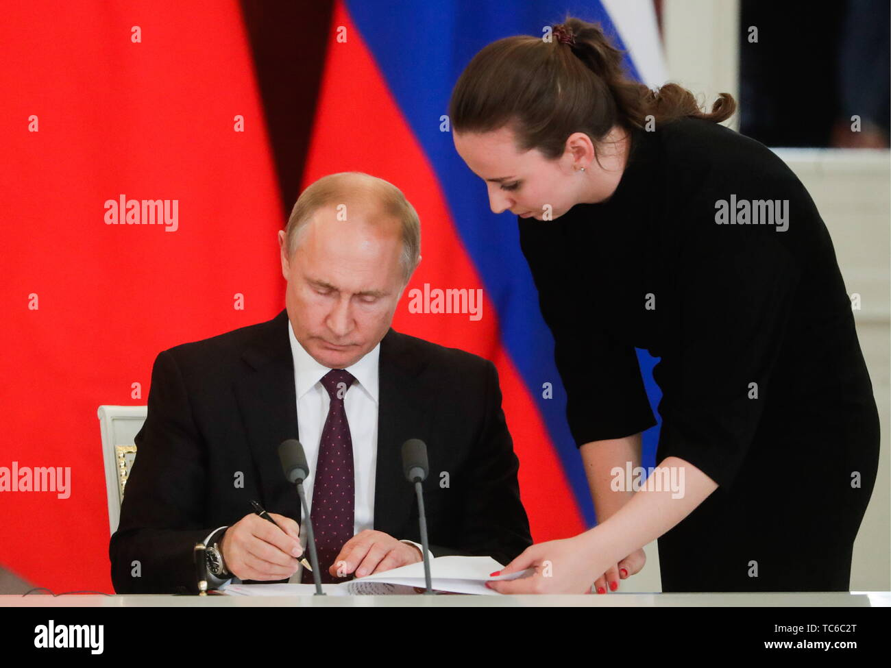 Moscow, Russia. 05th June, 2019. MOSCOW, RUSSIA - JUNE 5, 2019: Russia's President Vladimir Putin at a ceremony to sign joint documents following Russian-Chinese talks at the Moscow Kremlin. Mikhail Metzel/TASS Credit: ITAR-TASS News Agency/Alamy Live News - Stock Image