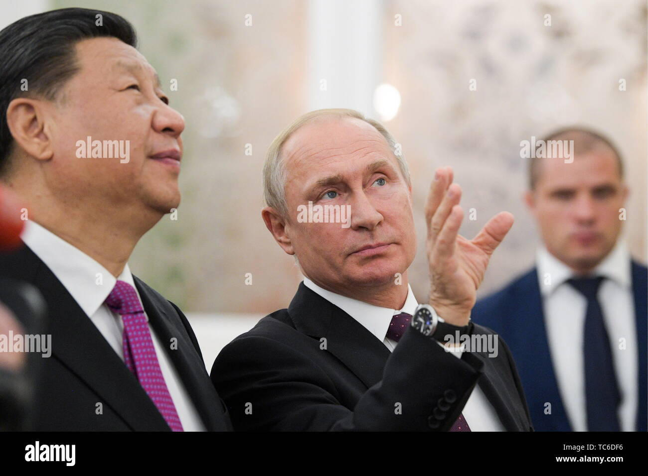 Moscow, Russia. 05th June, 2019. MOSCOW, RUSSIA - JUNE 5, 2019: China's President Xi Jinping (L) and Russia's President Vladimir Putin during a meeting at the Moscow Kremlin. Alexei Druzhinin/Russian Presidential Press and Information Office/TASS Credit: ITAR-TASS News Agency/Alamy Live News - Stock Image