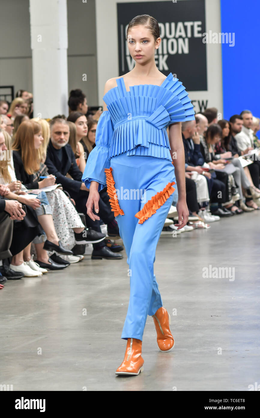 London, UK. 05th June, 2019. International Fashion Award Show - Fashion Show showcases at Graduate Fashion Week 2019 - Final Day, on 5 June 2019, Old Truman Brewery, London, UK. Credit: Picture Capital/Alamy Live News - Stock Image