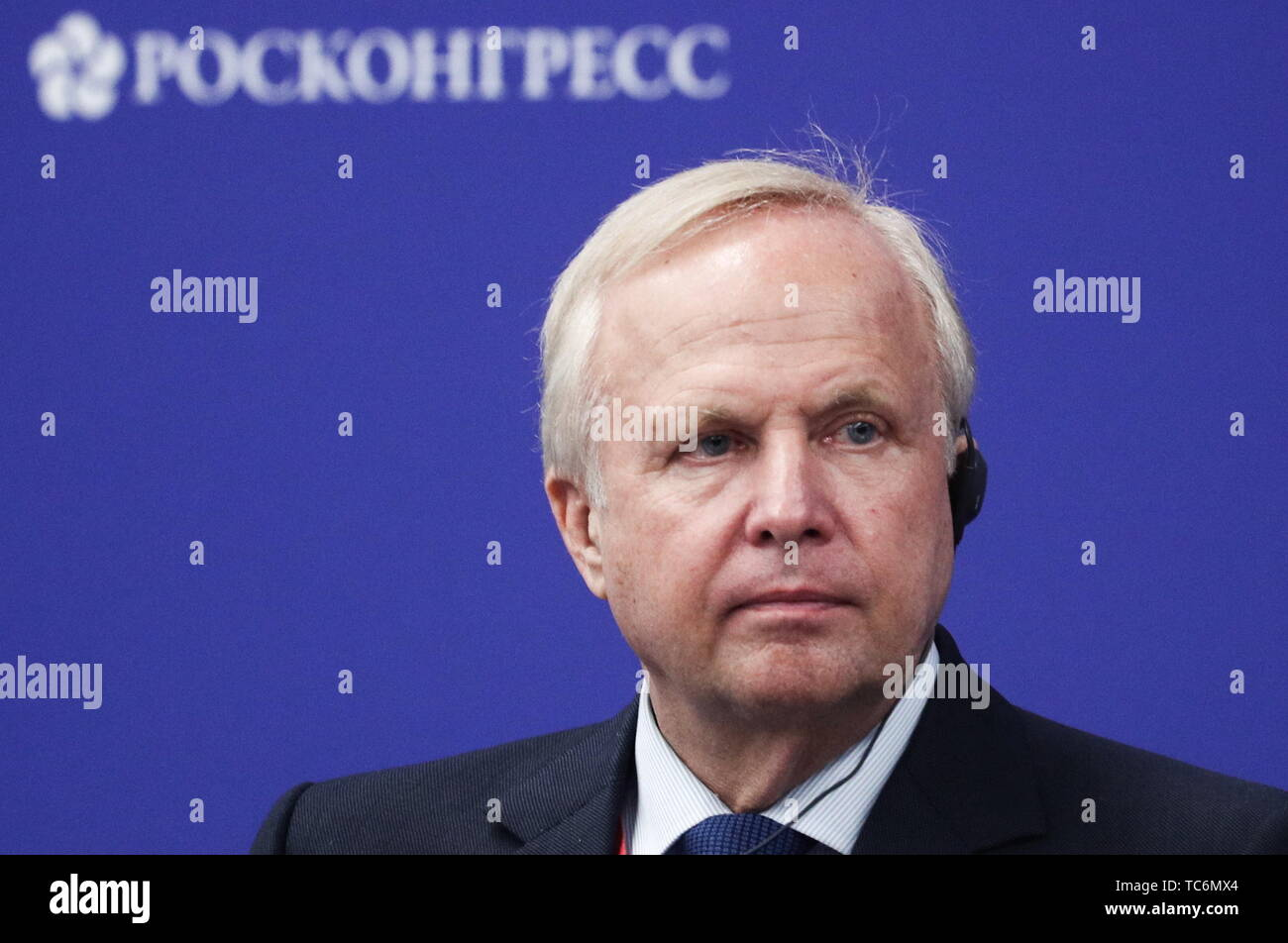 St Petersburg, Russia. 06th June, 2019. ST PETERSBURG, RUSSIA - JUNE 6, 2019: BP CEO Robert Dudley at the Energy Panel session as part of the 2019 St Petersburg International Economic Forum (SPIEF), at the ExpoForum Convention and Exhibition Centre. Mikahil Tereshchenko/TASS Host Photo Agency Credit: ITAR-TASS News Agency/Alamy Live News - Stock Image