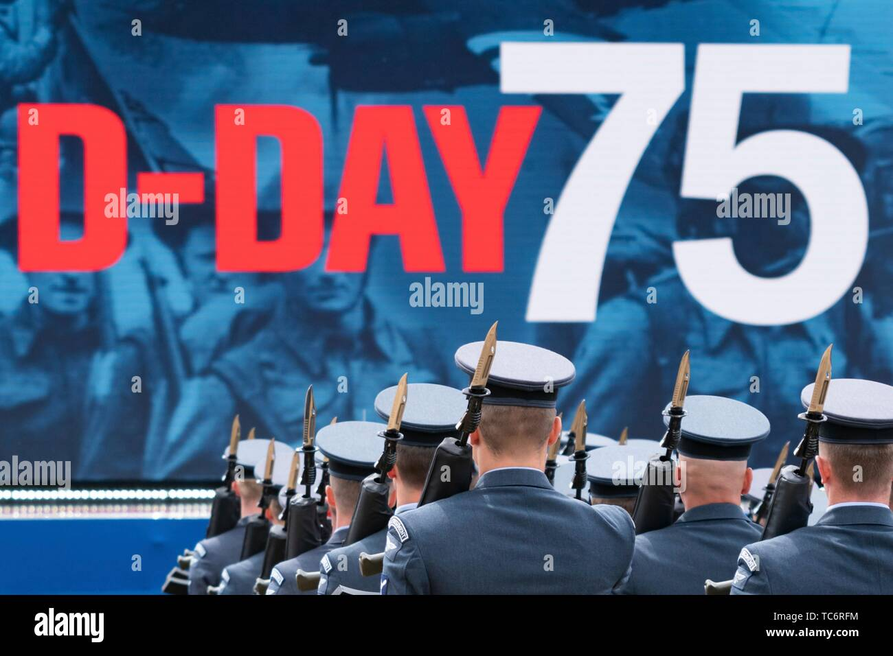 Portsmouth, UK. 05th June, 2019. Military honor guards during an event to marking the 75th anniversary of D-Day at the Southsea Common June 5, 2019 in Portsmouth, England. World leaders gathered on the south coast of England where troops departed for the D-Day assault 75-years-ago. Credit: Planetpix/Alamy Live News - Stock Image