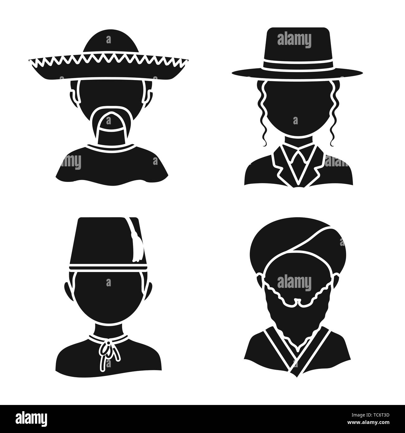 Isolated object of person and culture sign. Collection of person and race  stock vector illustration. - Stock Image