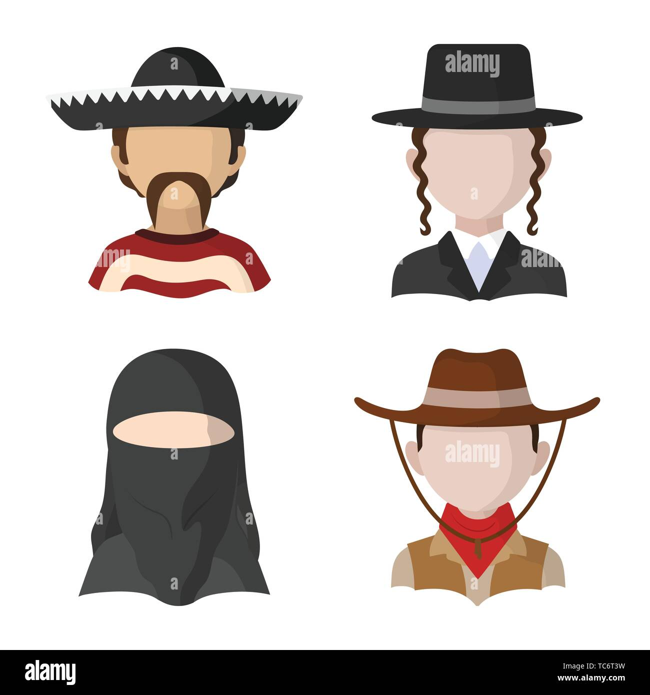 Vector design of nation and race  logo. Set of nation and user vector icon for stock. - Stock Image
