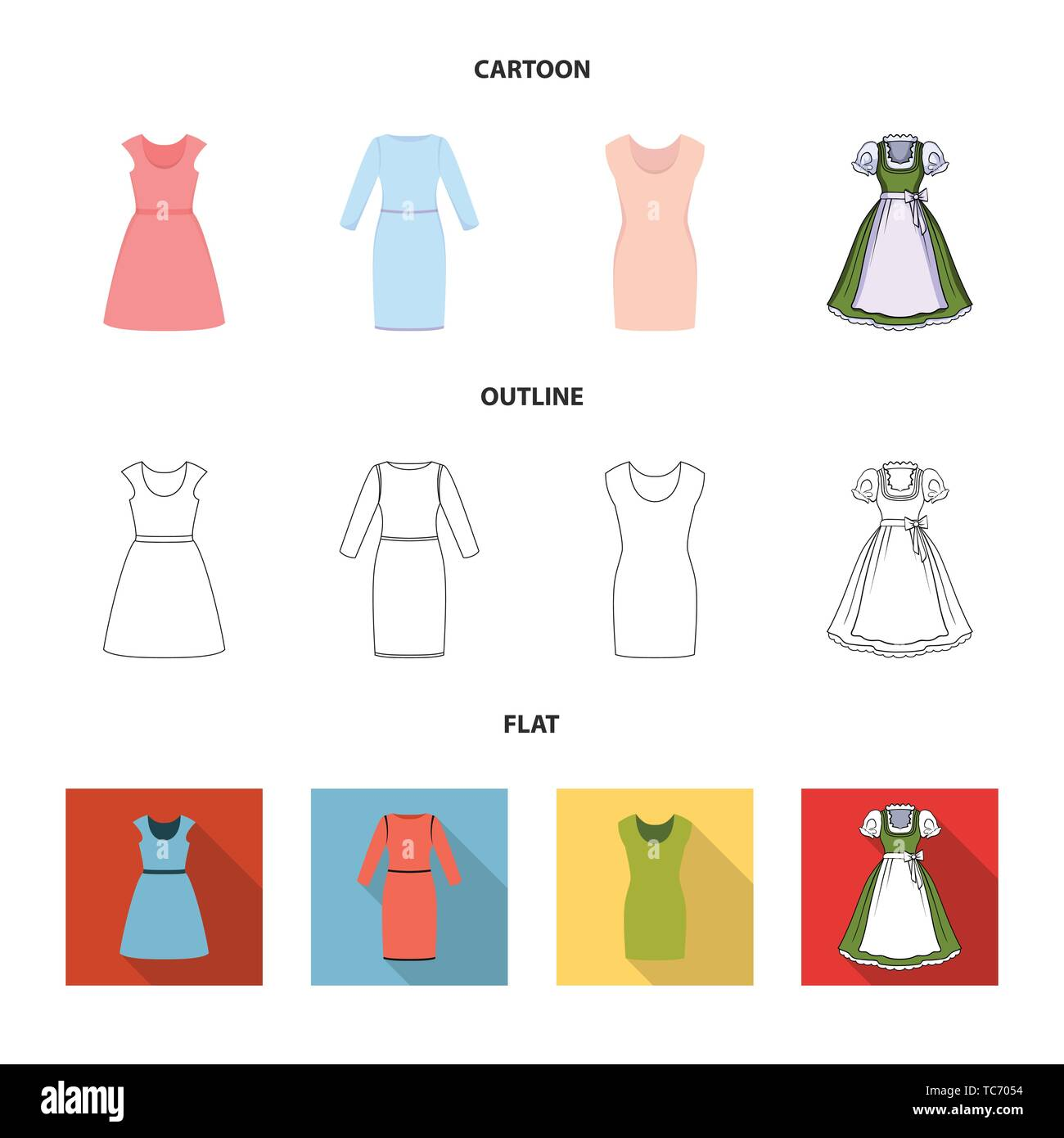 Vector design of dress and clothes icon. Collection of dress and evening vector icon for stock. - Stock Vector
