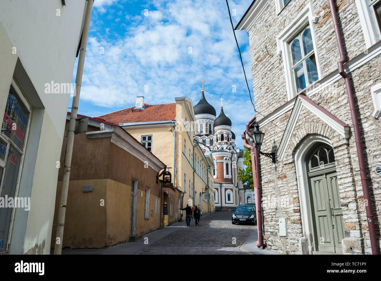 Street in Old Town with Alexander Nevsky Cathedral in the background. Toompea Hill, Tallinn, Estonia, Baltic States. Stock Photo