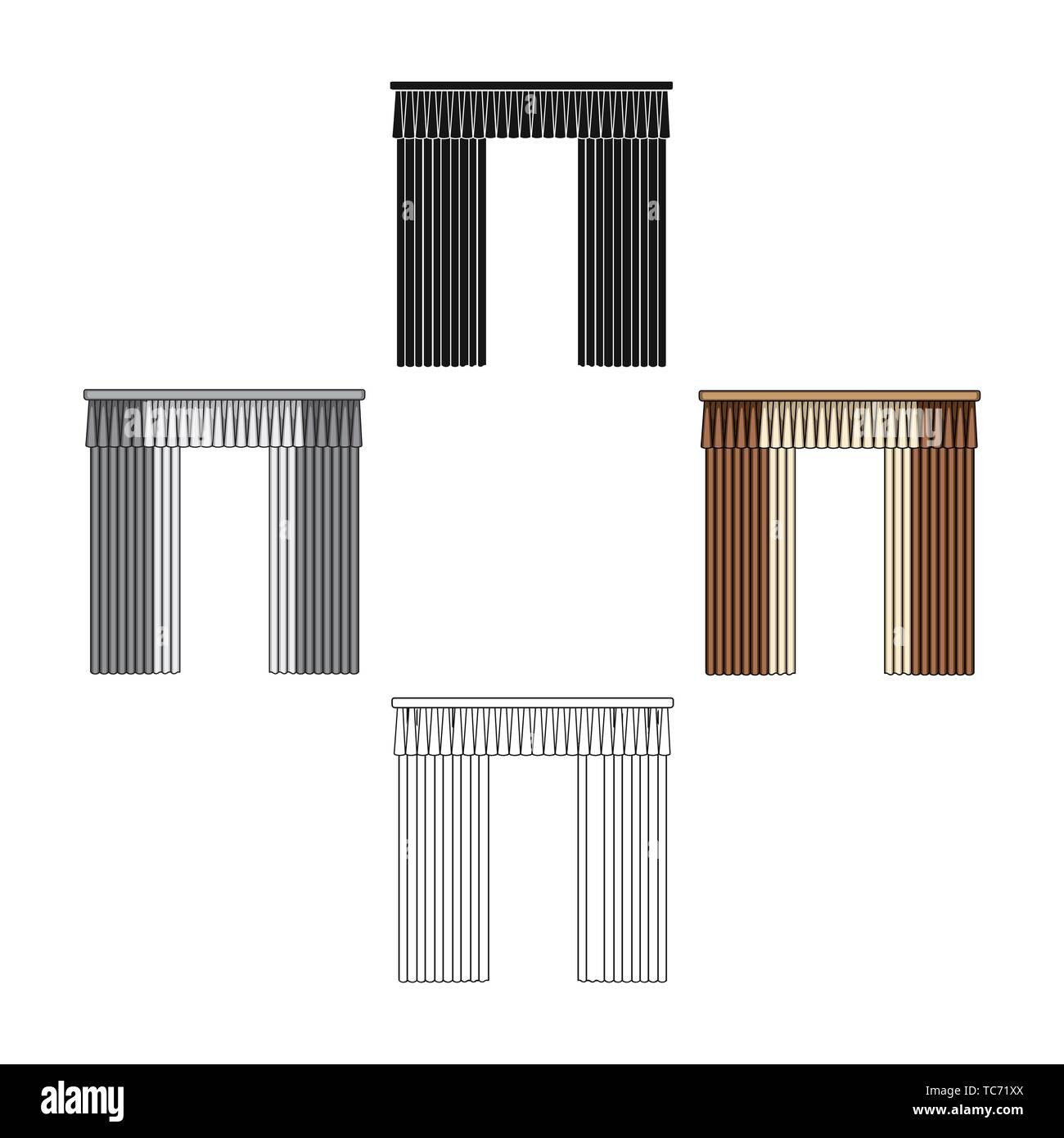 Curtains with drapery on the cornice.Curtains single icon in cartoon,black style vector symbol stock illustration . - Stock Vector