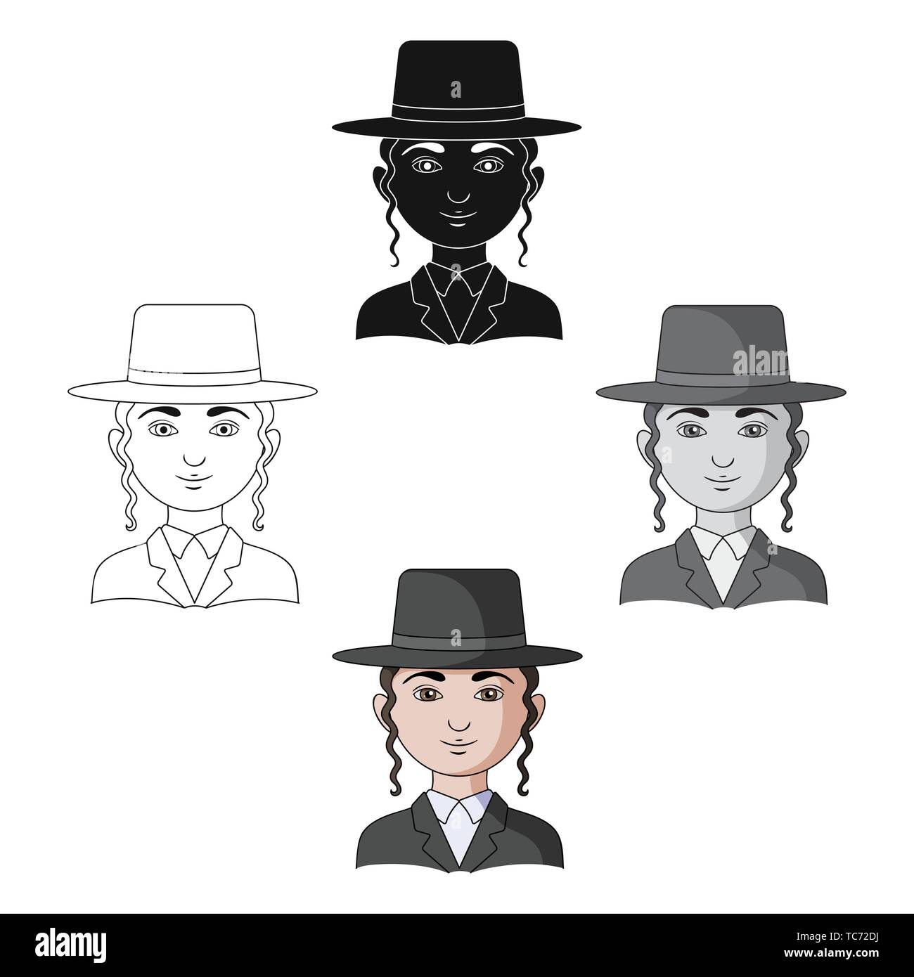 Jew.Human race single icon in cartoon,black style vector symbol stock illustration . - Stock Image