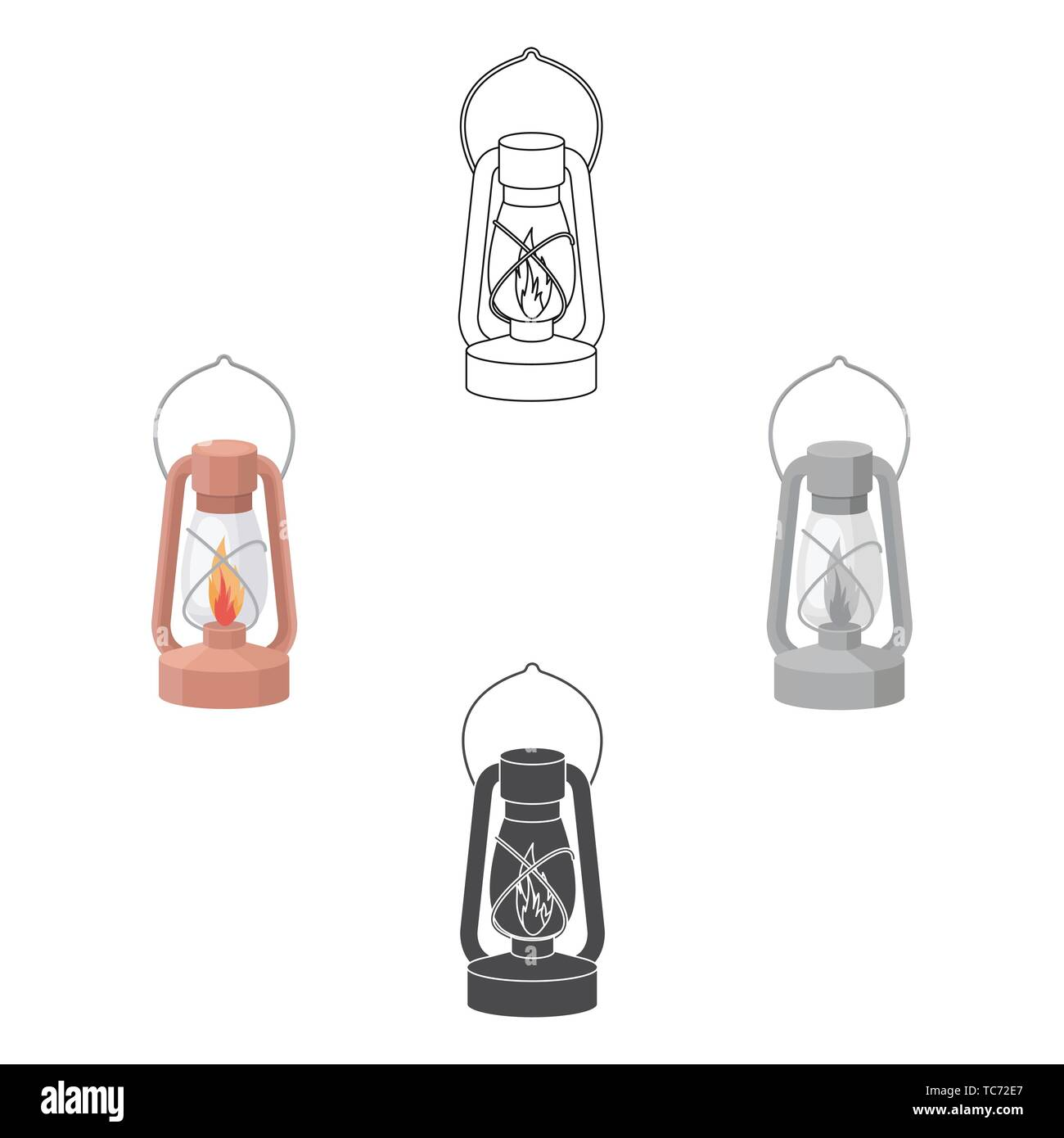 Kerosene lamp icon in cartoon,black style isolated on white background. Light source symbol vector illustration - Stock Vector