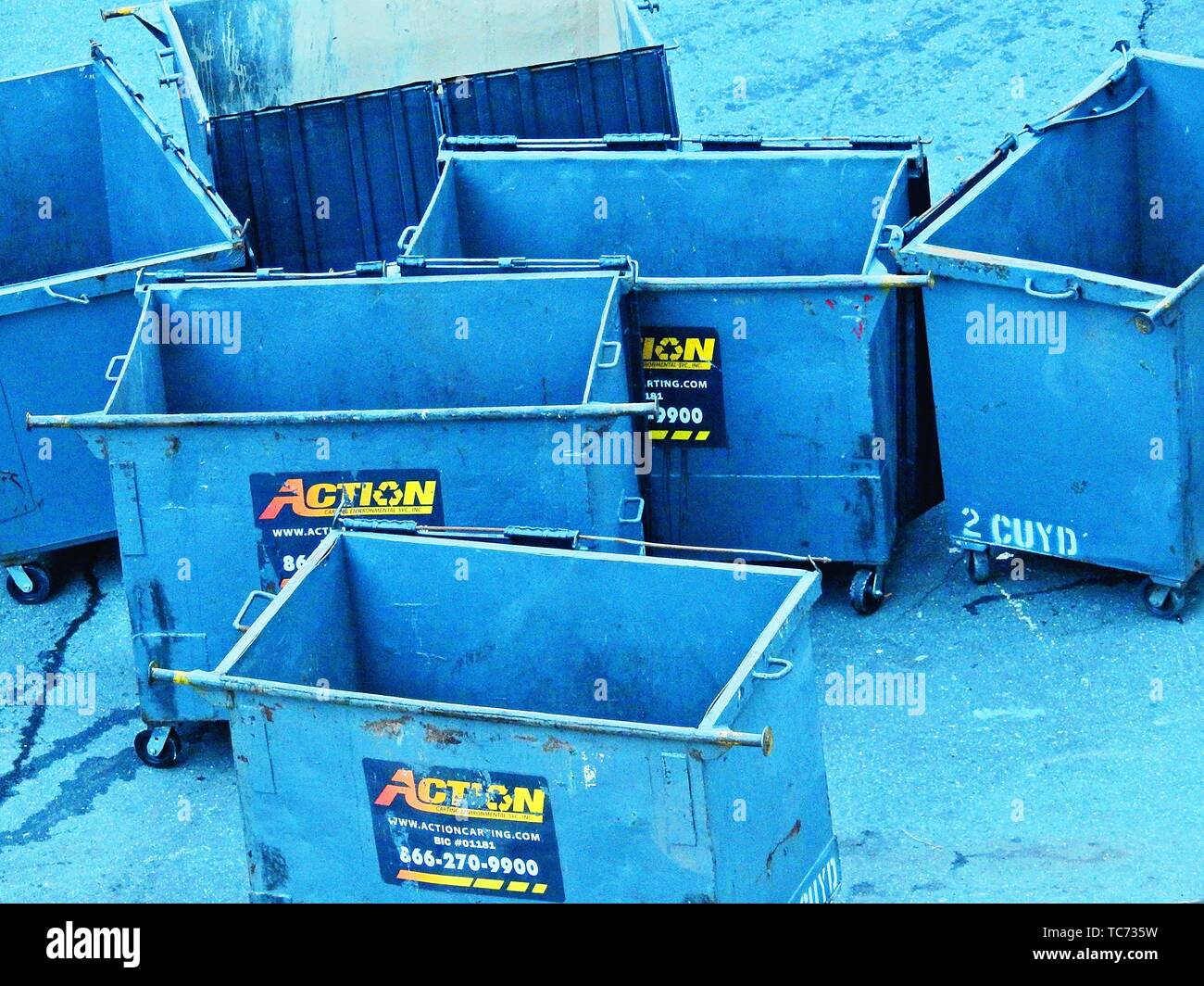 Commercial Waste Containers, Recycling and Environmental Services. Action Carting Environmental Services is the most progressive and innovative - Stock Image