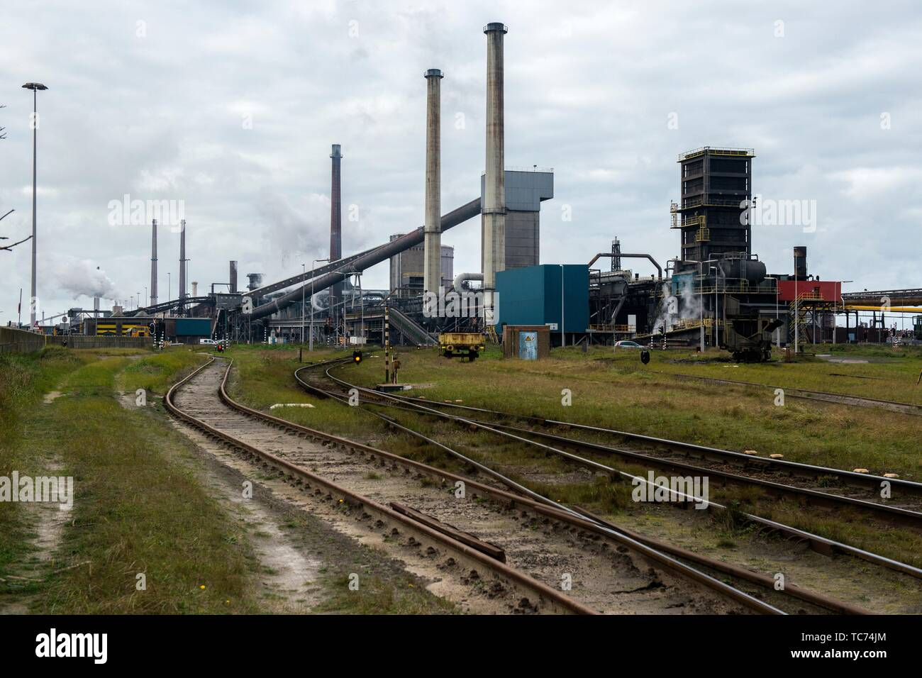 North-West Europe. Huge, heavy industry terrain, producing various kinds of steel inside an old, CO2 emmitting environment. - Stock Image