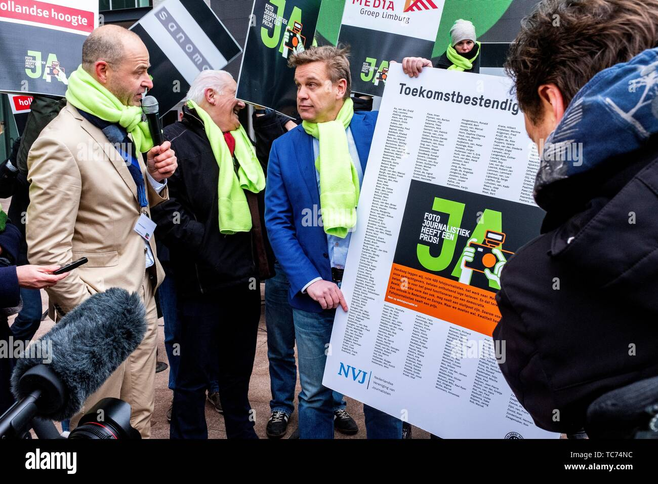 The Hague, Netherlands. Photo-Journalists and Photographers went On Strike, January 2019, against the ever declining prices in Photo-Journalism on - Stock Image