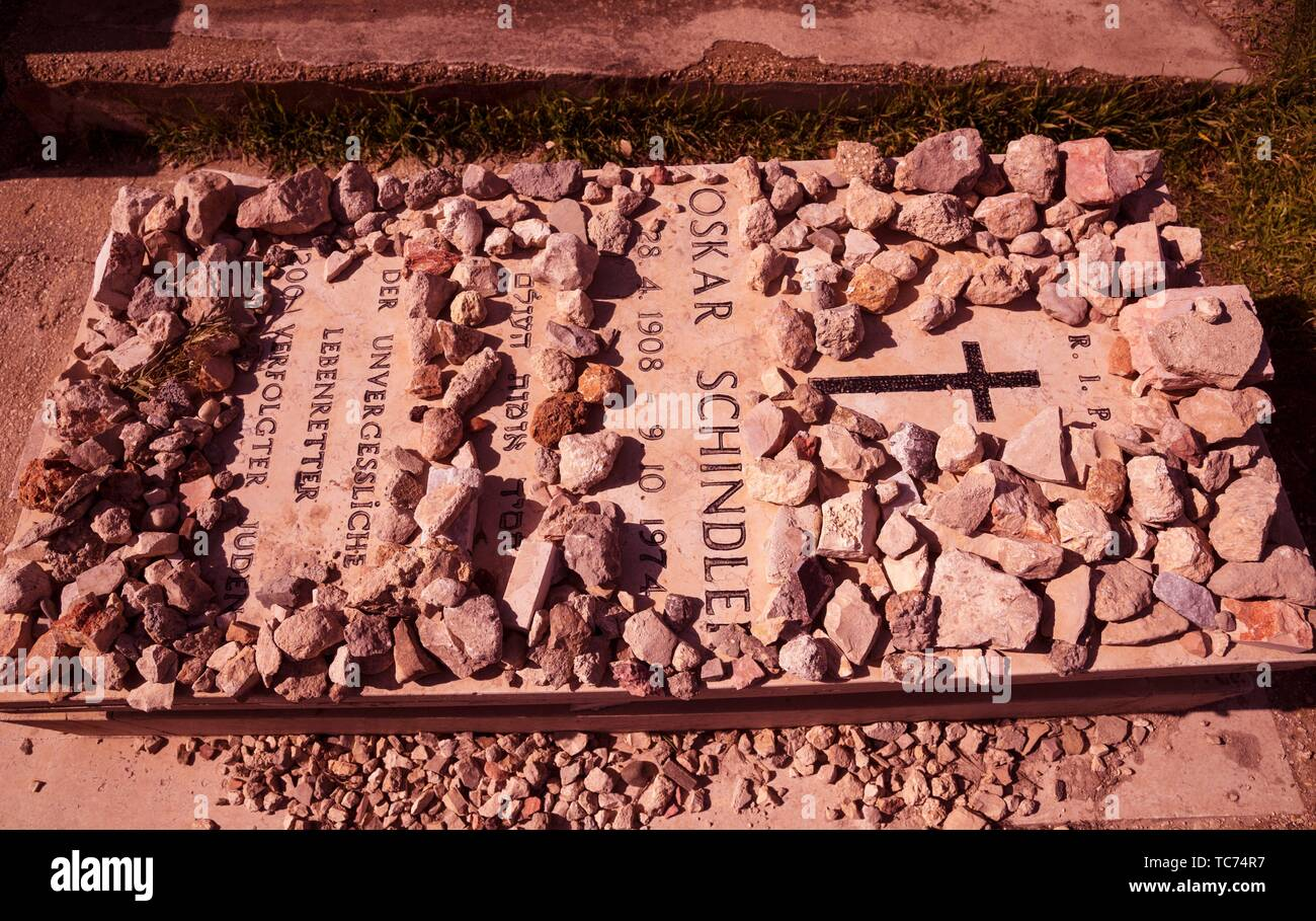 World War ll, Oskar Schindler grave on Mount Zion, 1974, He saved 1, 200 Jews during World War II. The movie Schindler´s List tells his story. - Stock Image