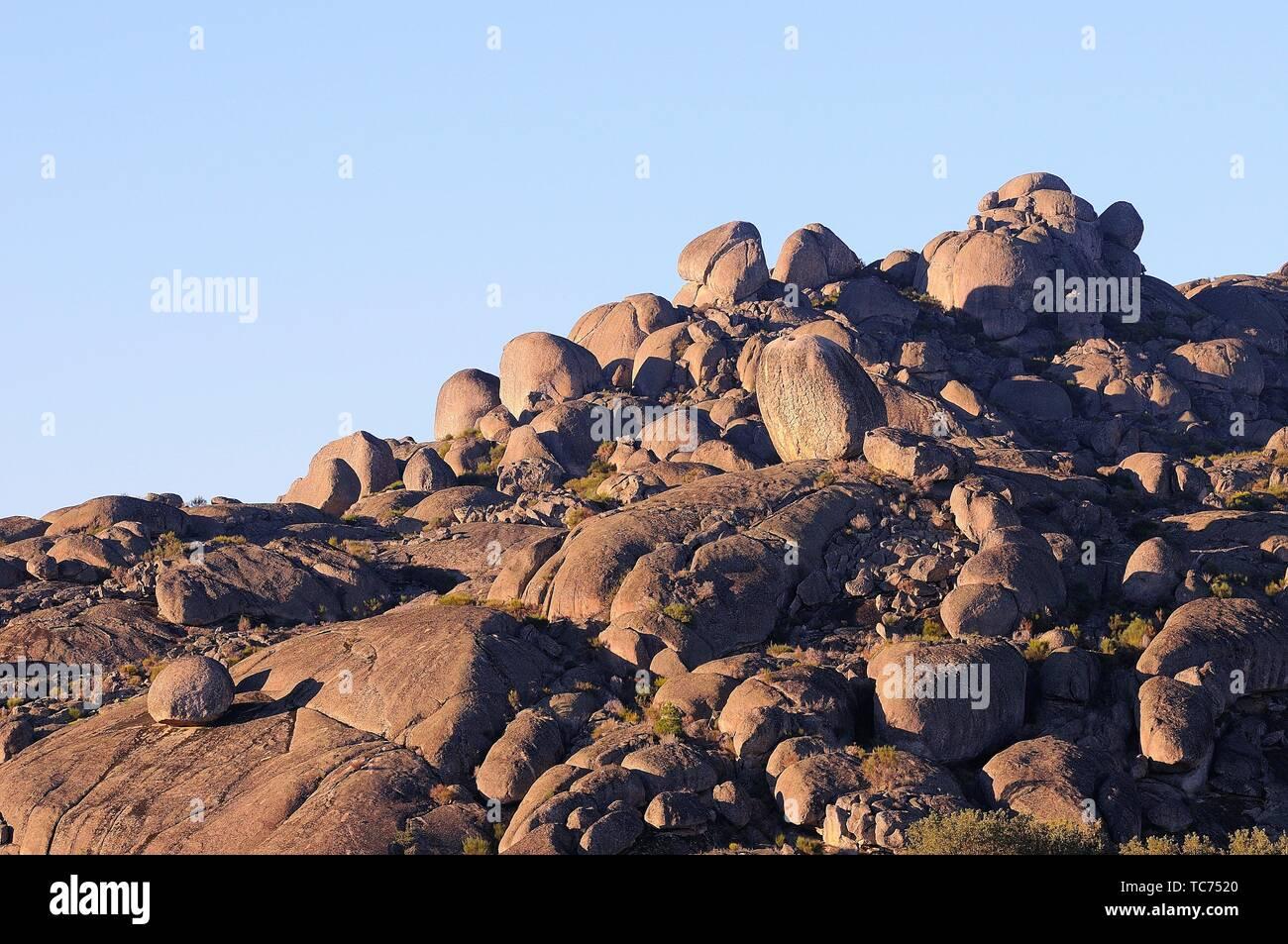 Granitic morphology. Valencia de Alcántara. Cáceres province. Extremadura. Spain Stock Photo