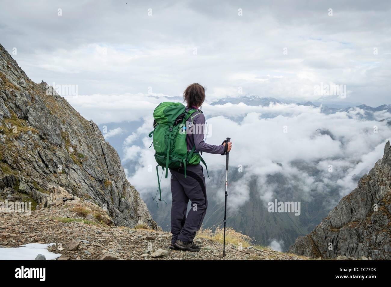 col de Faustin, valle de Valier -Riberot-, Parque Natural Regional de los Pirineos de Ariège, cordillera de los Pirineos, Francia. - Stock Image