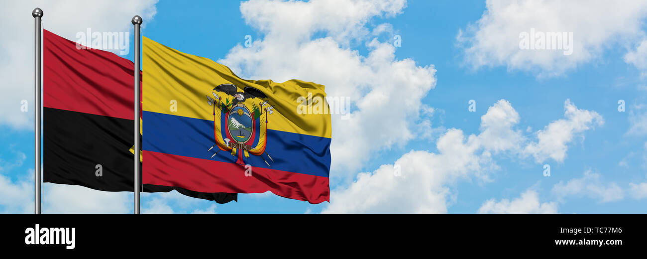 Angola and Ecuador flag waving in the wind against white cloudy blue sky together. Diplomacy concept, international relations. - Stock Image