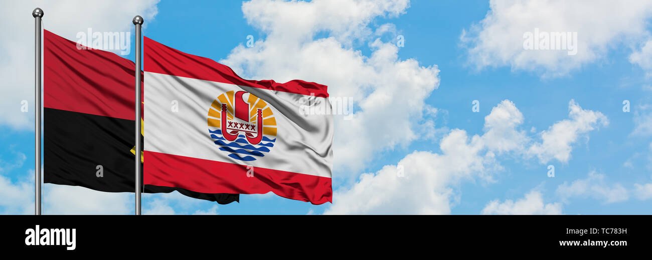 Angola and French Polynesia flag waving in the wind against white cloudy blue sky together. Diplomacy concept, international relations. - Stock Image