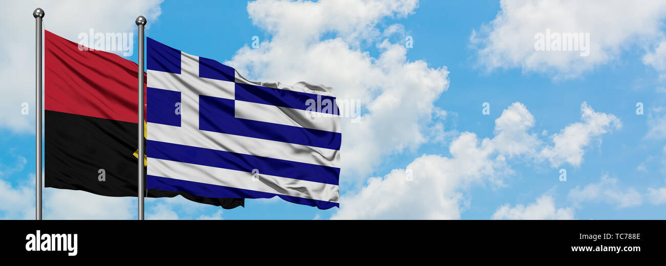Angola and Greece flag waving in the wind against white cloudy blue sky together. Diplomacy concept, international relations. - Stock Image