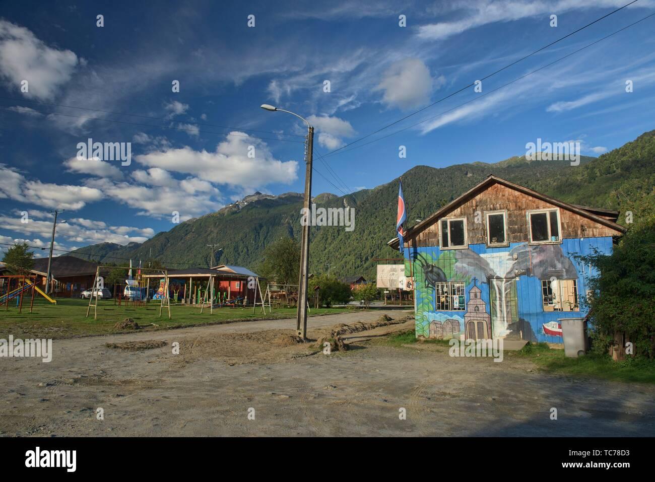 Small town life, Puyuhuapi, Carretera Austral, Patagonia, Aysen, Chile. - Stock Image