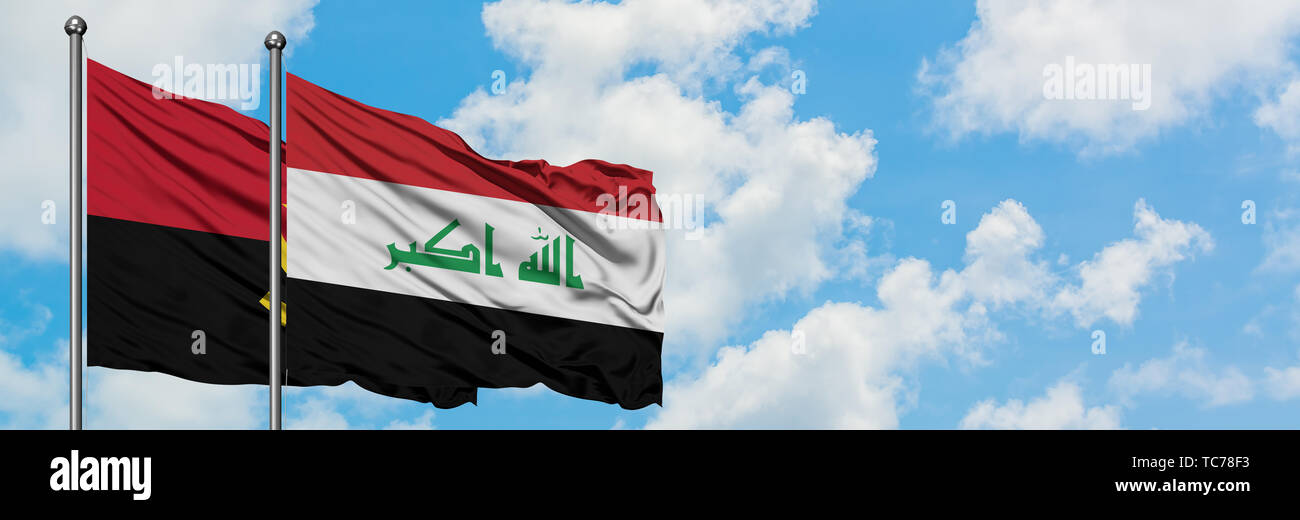 Angola and Iraq flag waving in the wind against white cloudy blue sky together. Diplomacy concept, international relations. - Stock Image