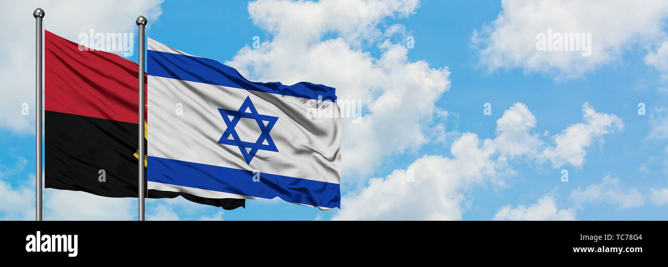 Angola and Israel flag waving in the wind against white cloudy blue sky together. Diplomacy concept, international relations. - Stock Image