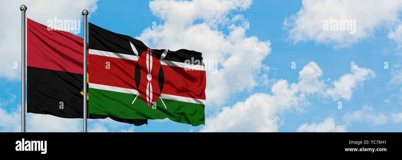 Angola and Kenya flag waving in the wind against white cloudy blue sky together. Diplomacy concept, international relations. - Stock Image