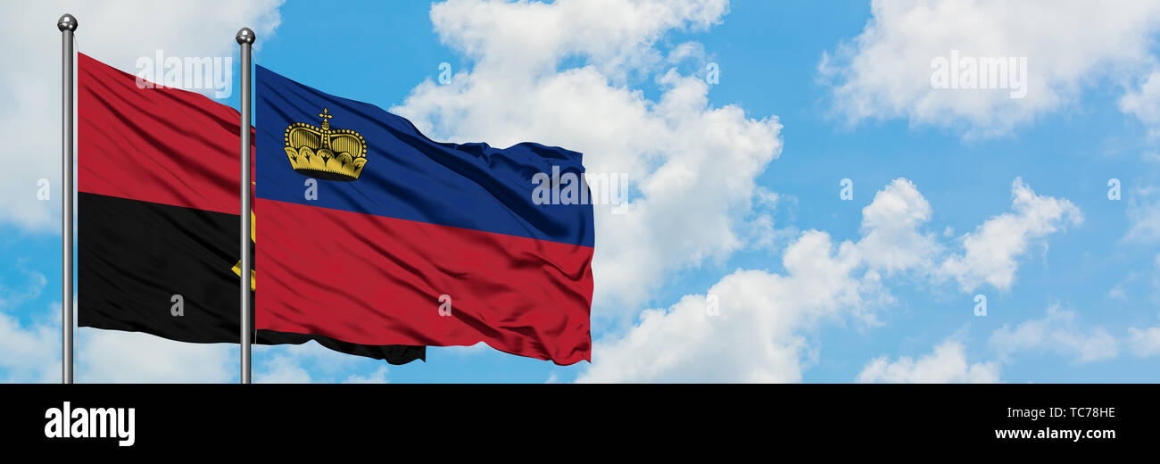 Angola and Liechtenstein flag waving in the wind against white cloudy blue sky together. Diplomacy concept, international relations. - Stock Image