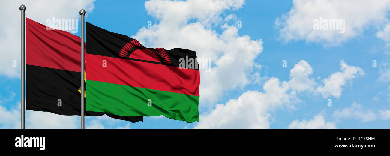 Angola and Malawi flag waving in the wind against white cloudy blue sky together. Diplomacy concept, international relations. - Stock Image