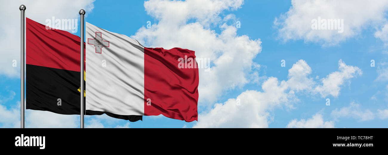 Angola and Malta flag waving in the wind against white cloudy blue sky together. Diplomacy concept, international relations. - Stock Image