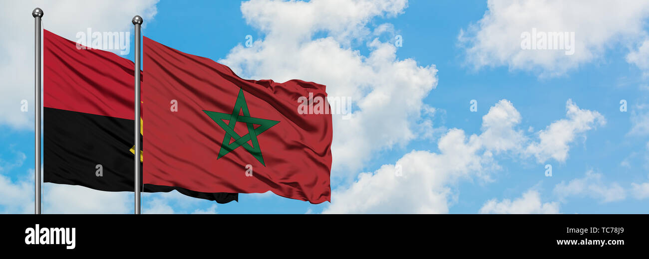 Angola and Morocco flag waving in the wind against white cloudy blue sky together. Diplomacy concept, international relations. - Stock Image