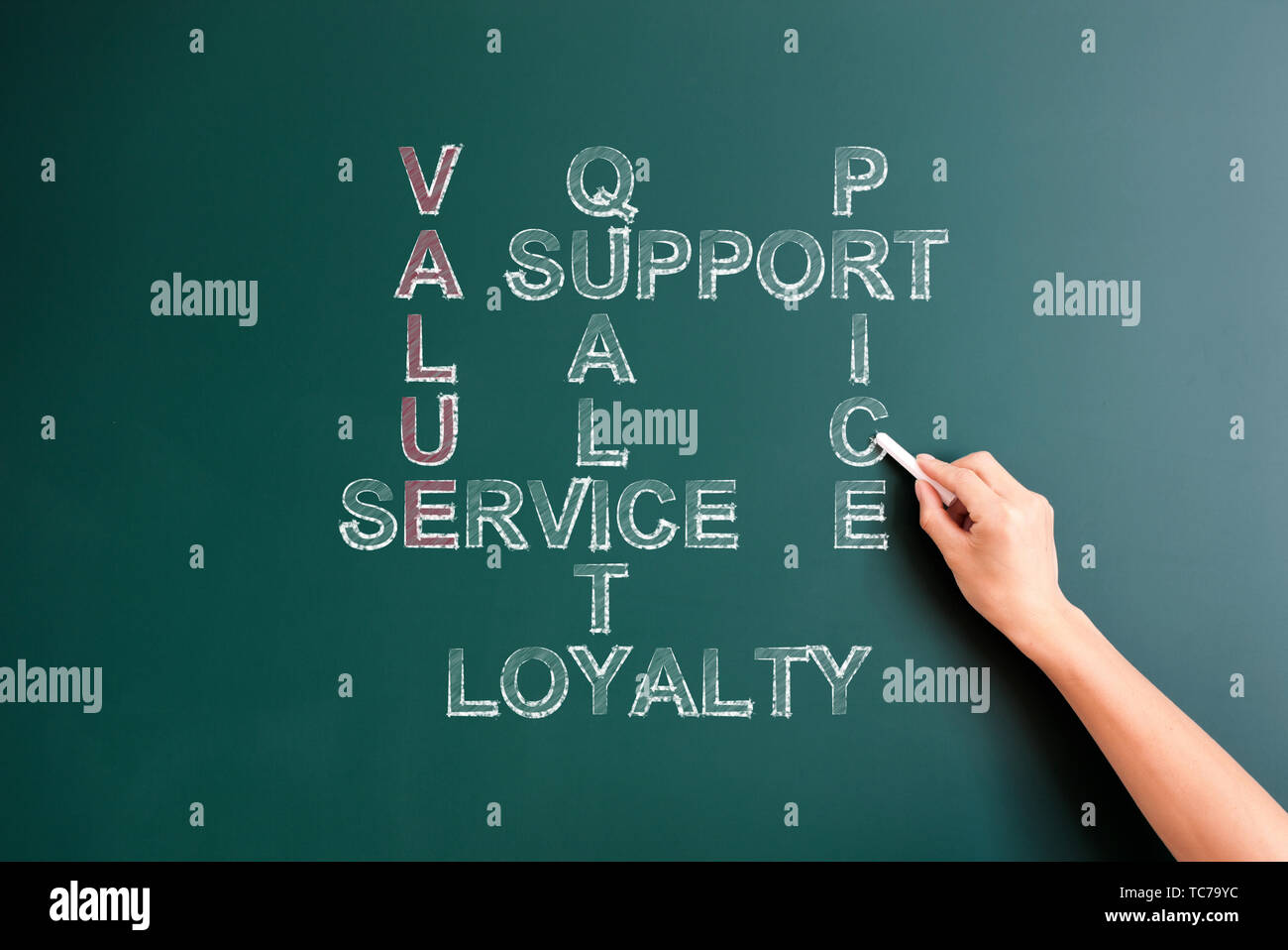 value related cross words puzzle written on blackboard - Stock Image