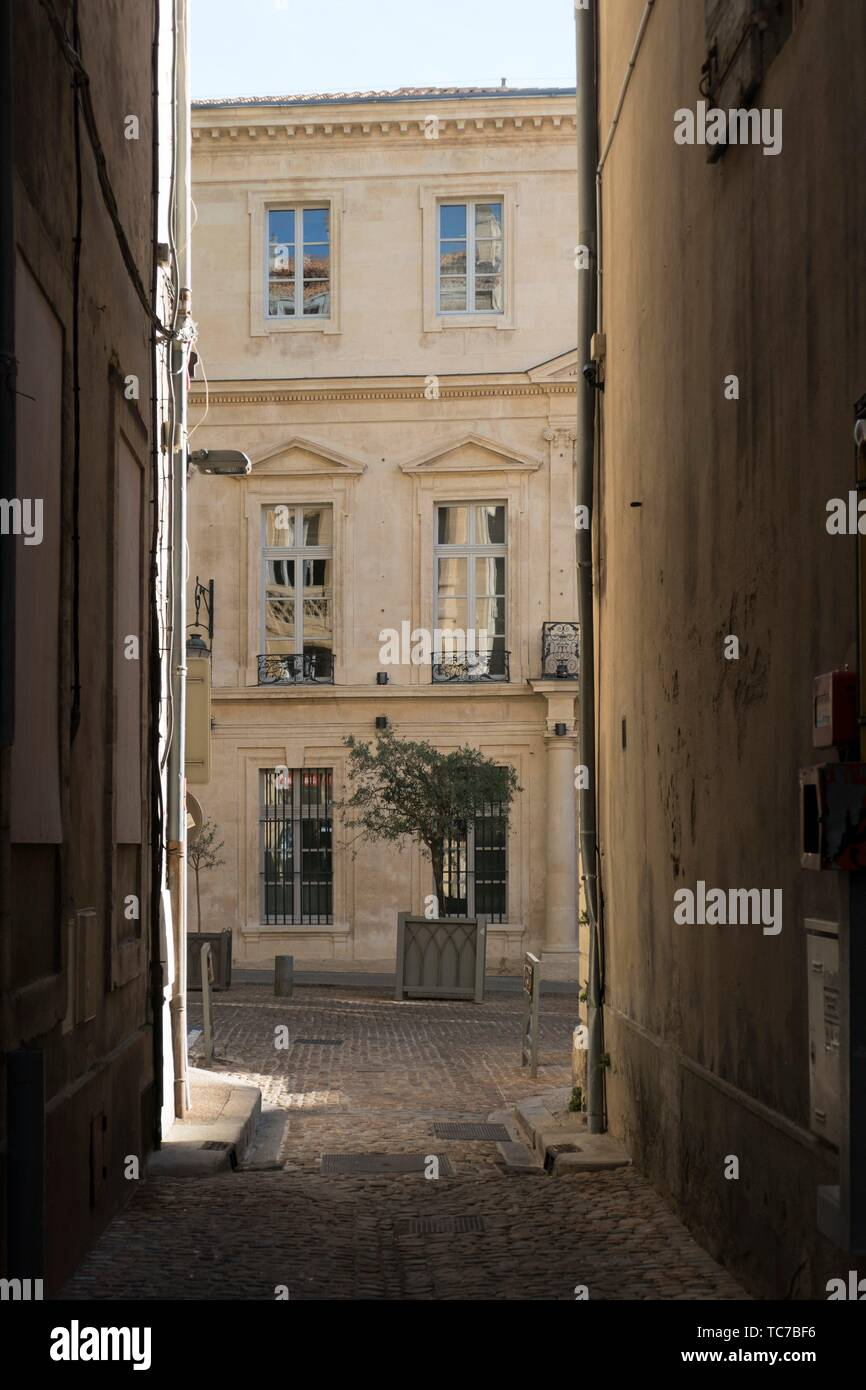 Rippling reflections of buildings opposite, in the classically carved harmonious windows of an elegant stone faced house, with potted olive trees, at - Stock Image