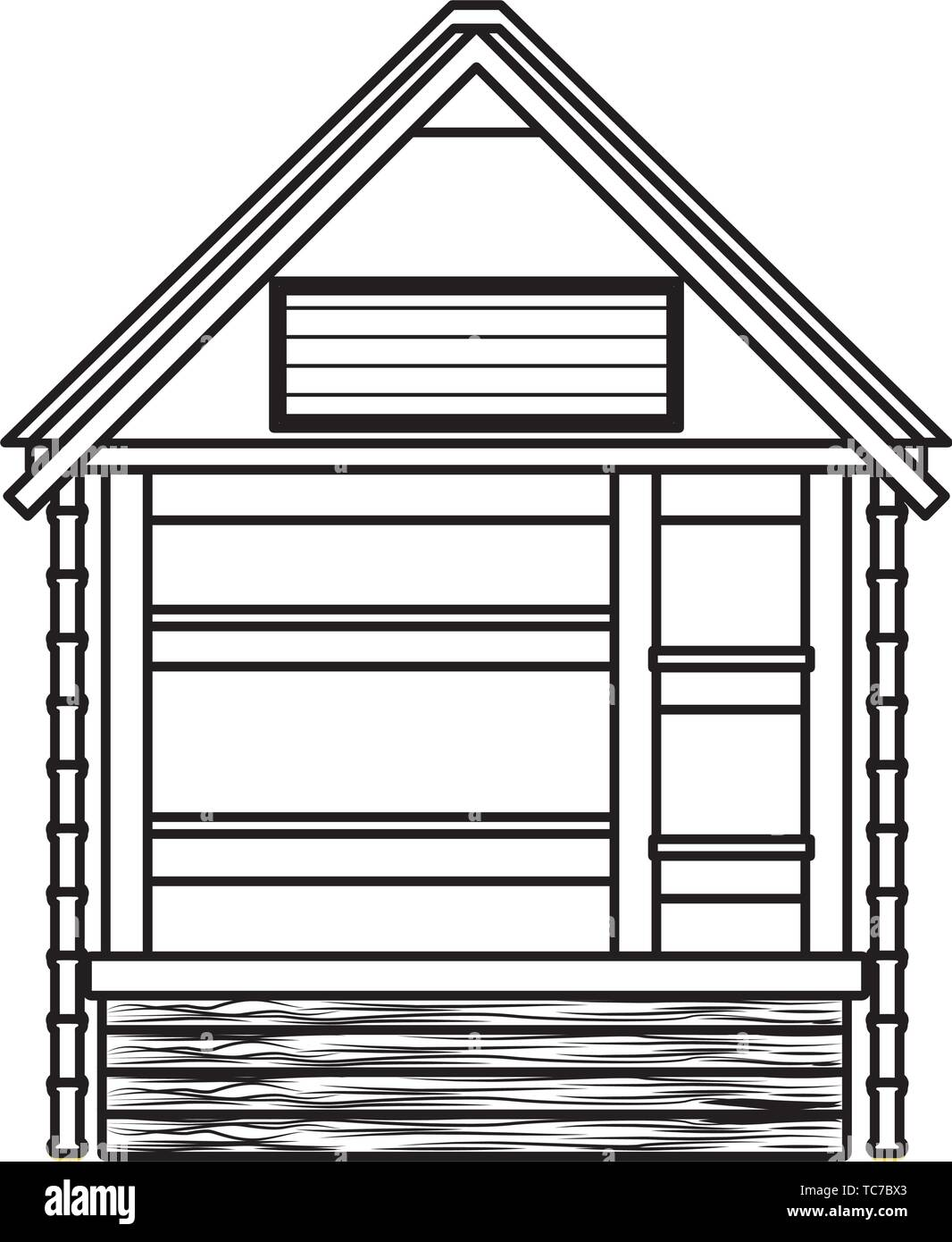 Beach wooden kiosk building house in black and white Stock Vector