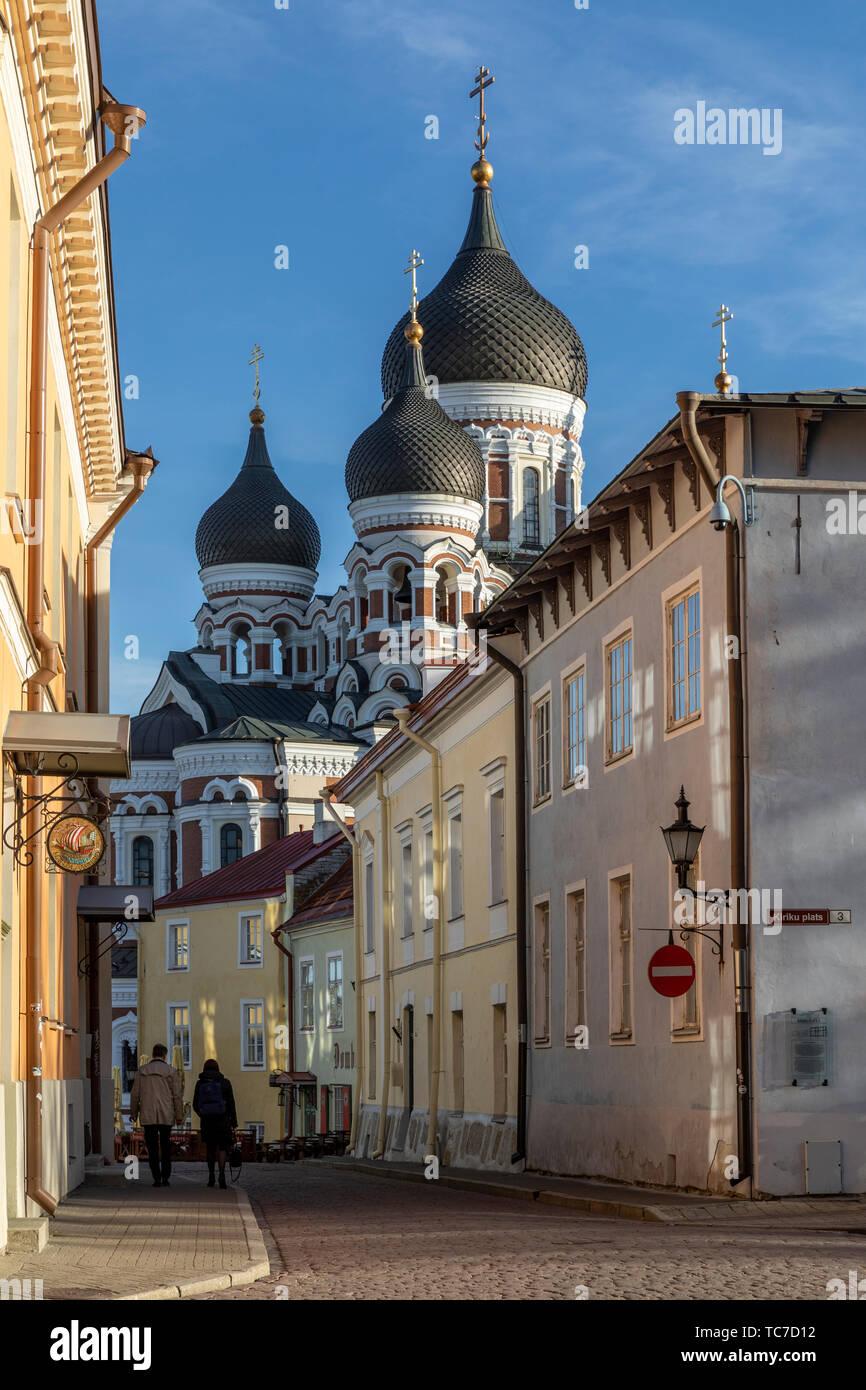 Evening sunlight on the domes of St Alexander Nevsky Cathedral, Tallinn, Estonia Stock Photo