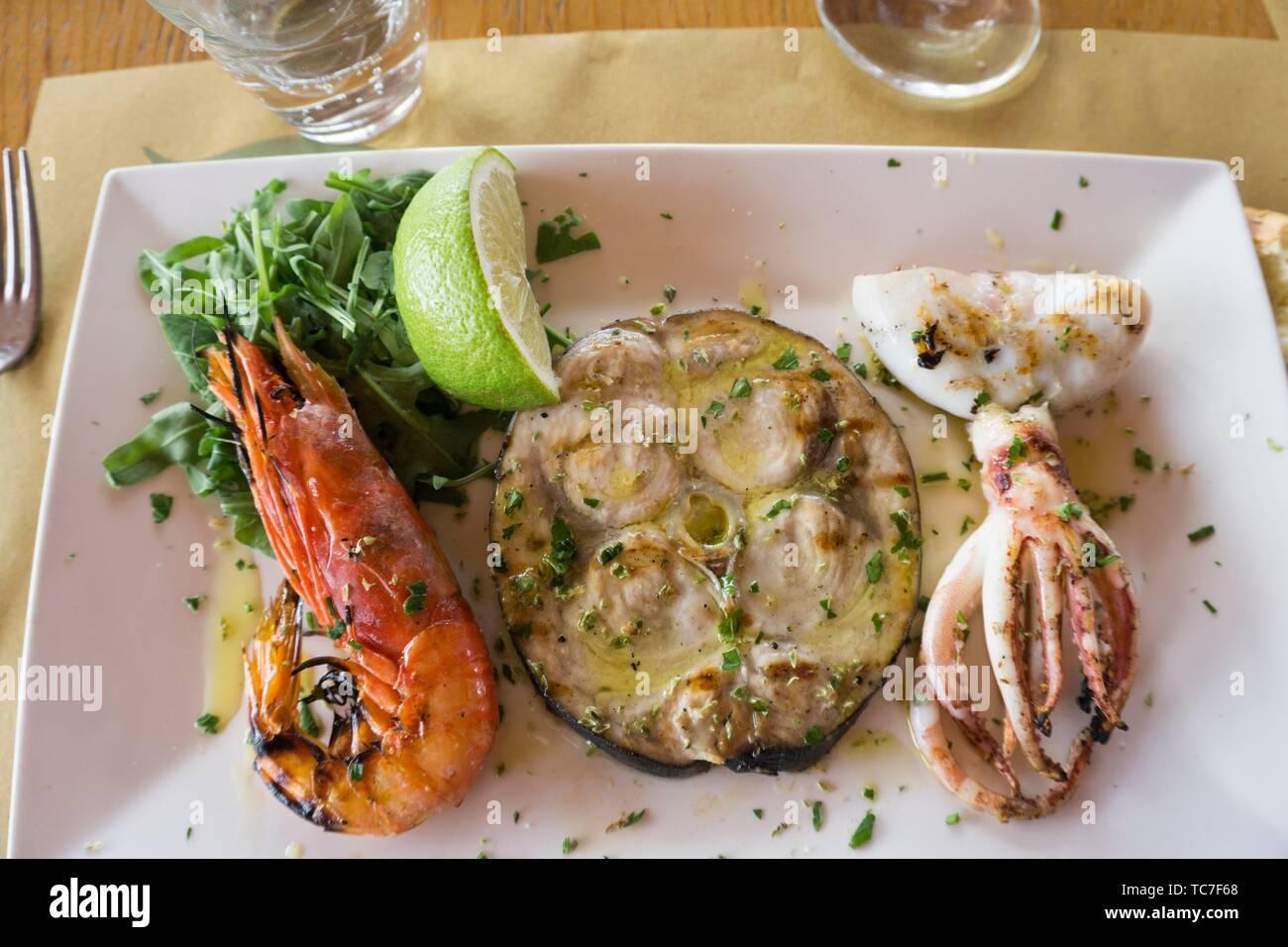 Mixed grill fish food Sicily Italy. - Stock Image