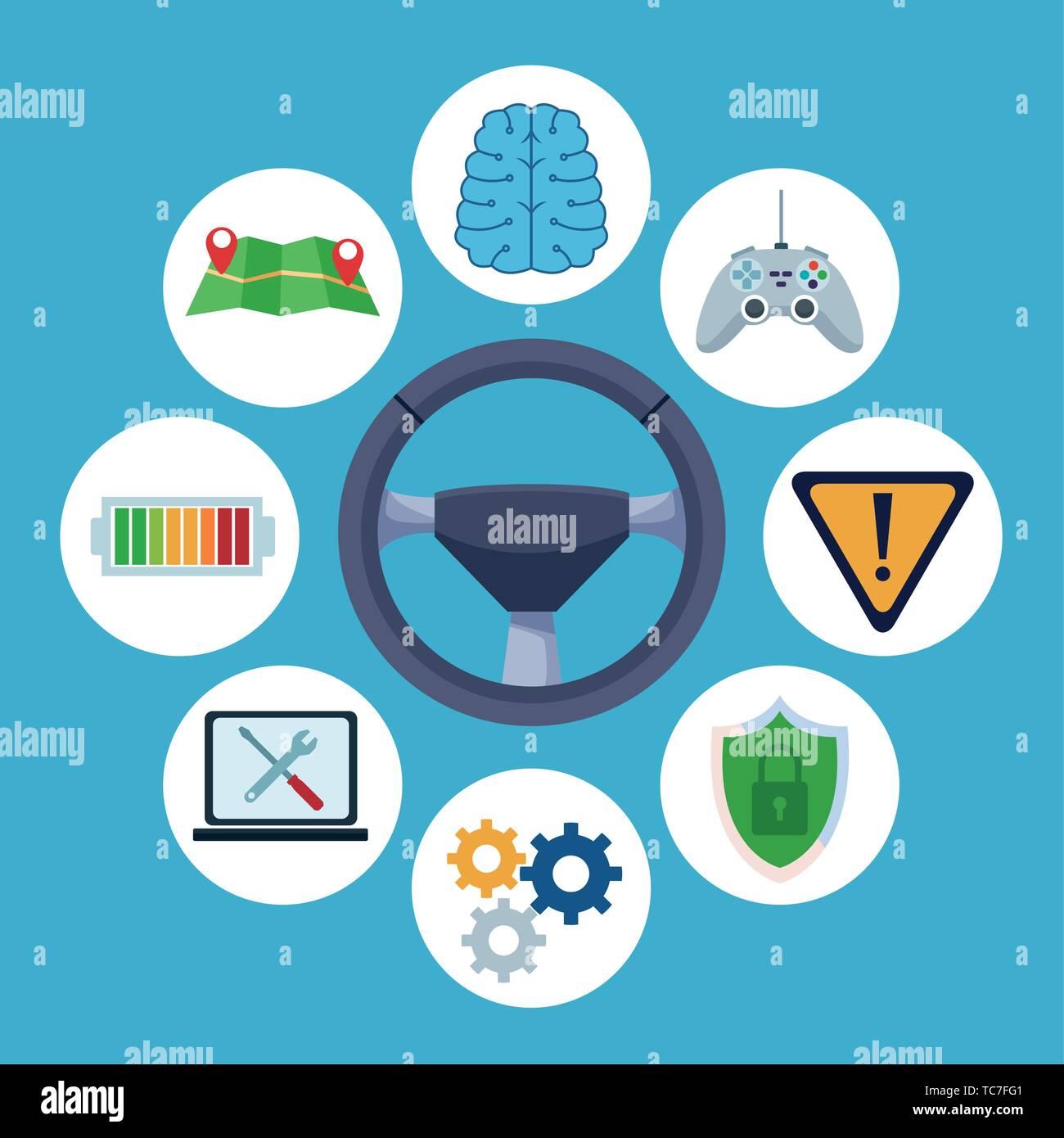 car internet conectivity icon cartoon - Stock Image