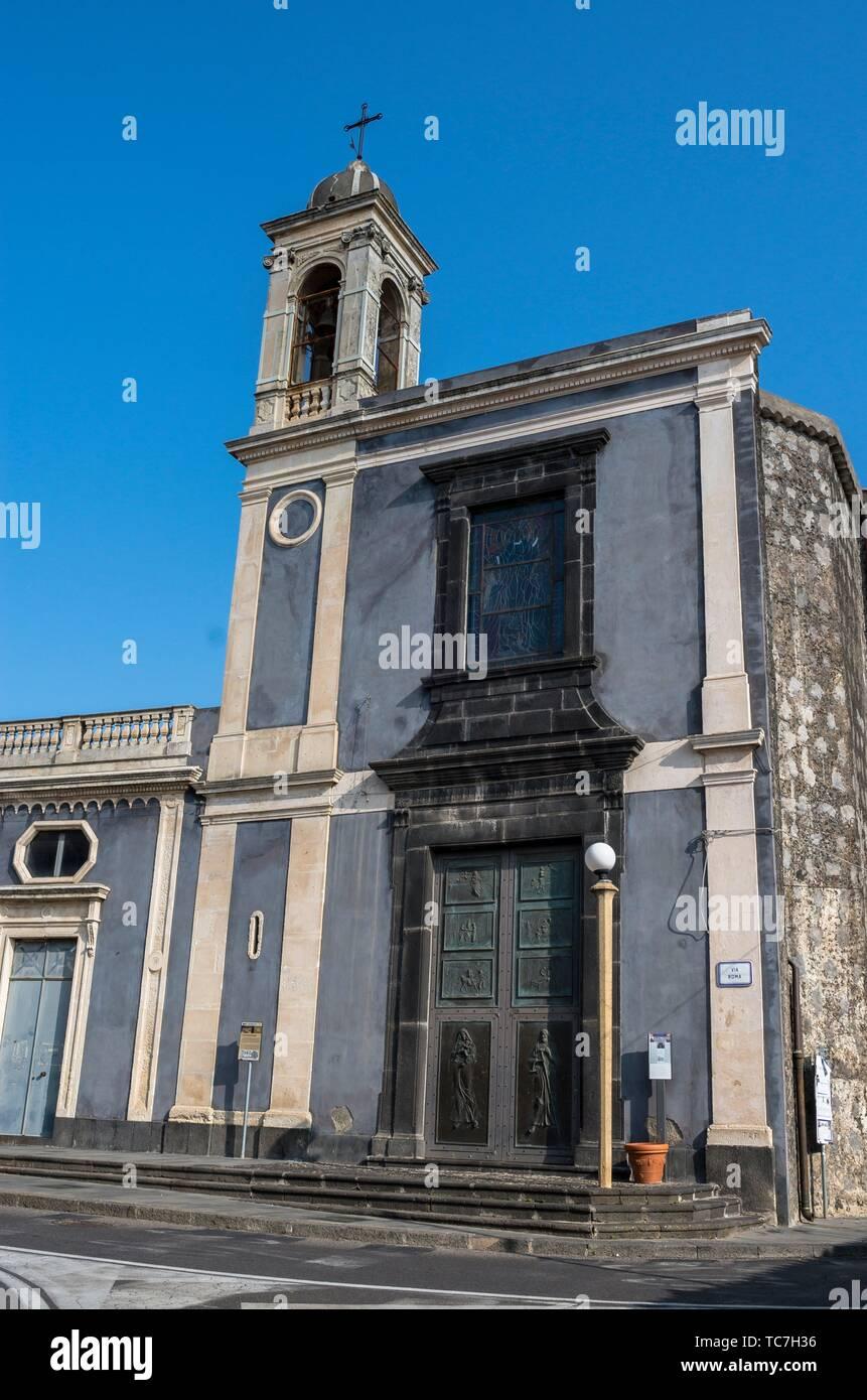 Church San Giuseppe, Nicolosi, Catania, Sicily, Italy. - Stock Image