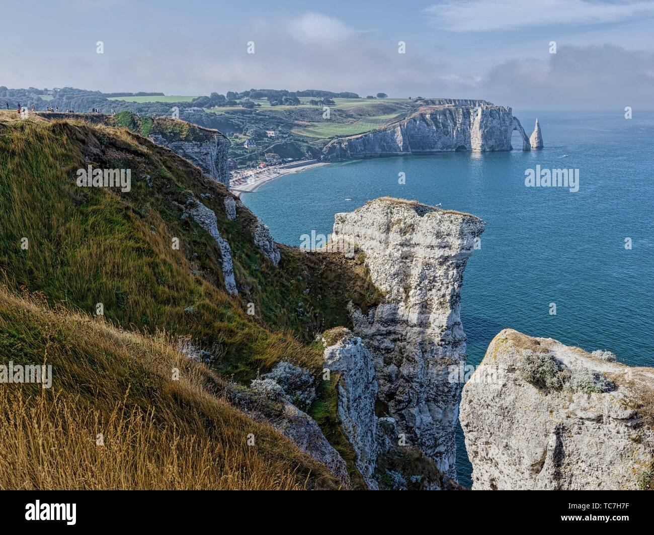 View from the Porte d'Amont Cliffs with the Falaise d'Aval in the background, Étretat; Normandy; France. Stock Photo
