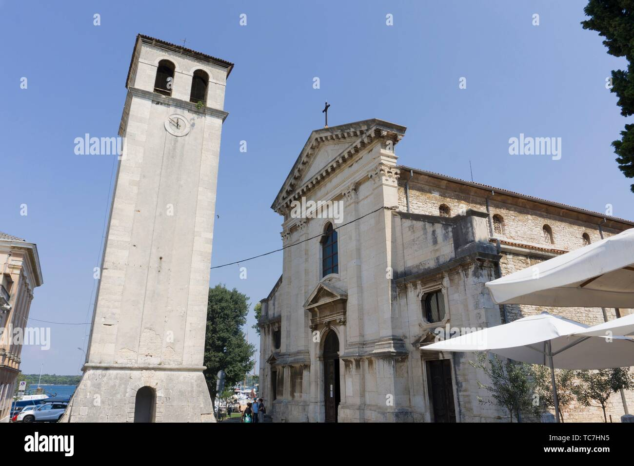 The cathedral in Pula in Istria Croatia. Stock Photo