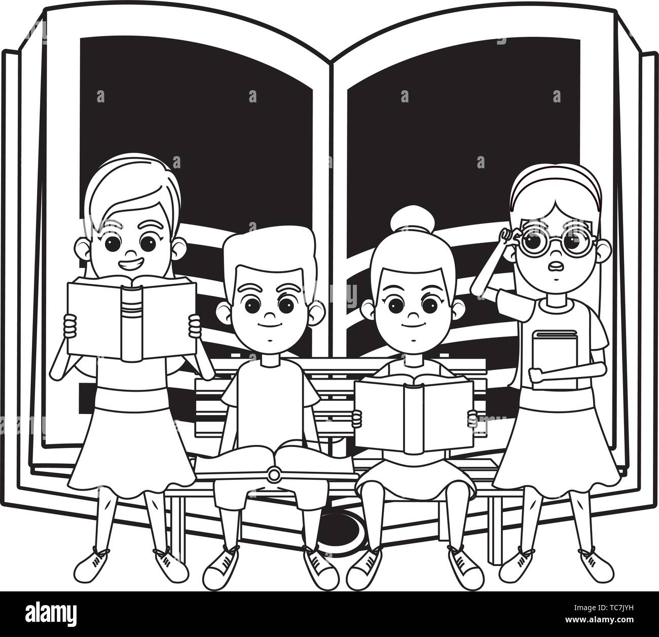 Enjoyable Young Kids With Books On A Bench Black And White Stock Machost Co Dining Chair Design Ideas Machostcouk