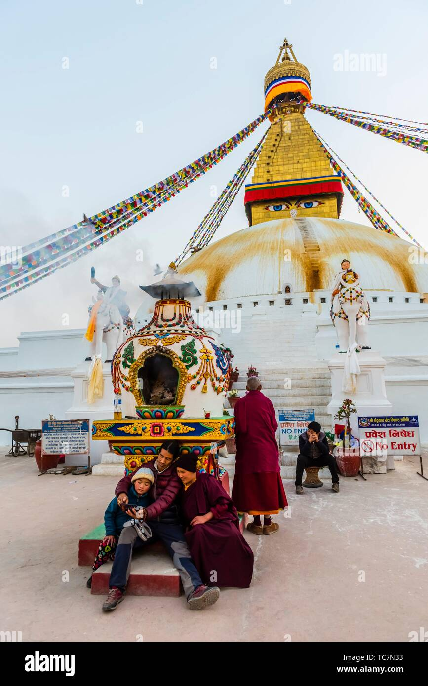 The Boudhanath Temple. It is the largest stupa in Nepal and the holiest Tibetan Buddhist temple outside Tibet. It is the center of Tibetan culture in - Stock Image