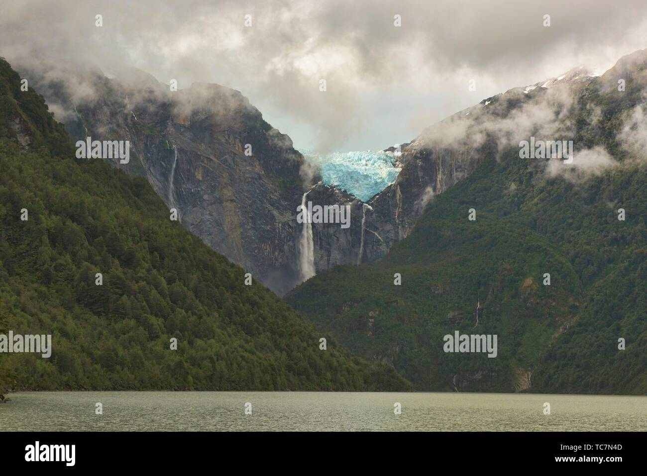Ventisquero Colgante hanging glacier above Laguna Tempanos in Queulat National Park, Patagonia, Aysen, Chile. - Stock Image