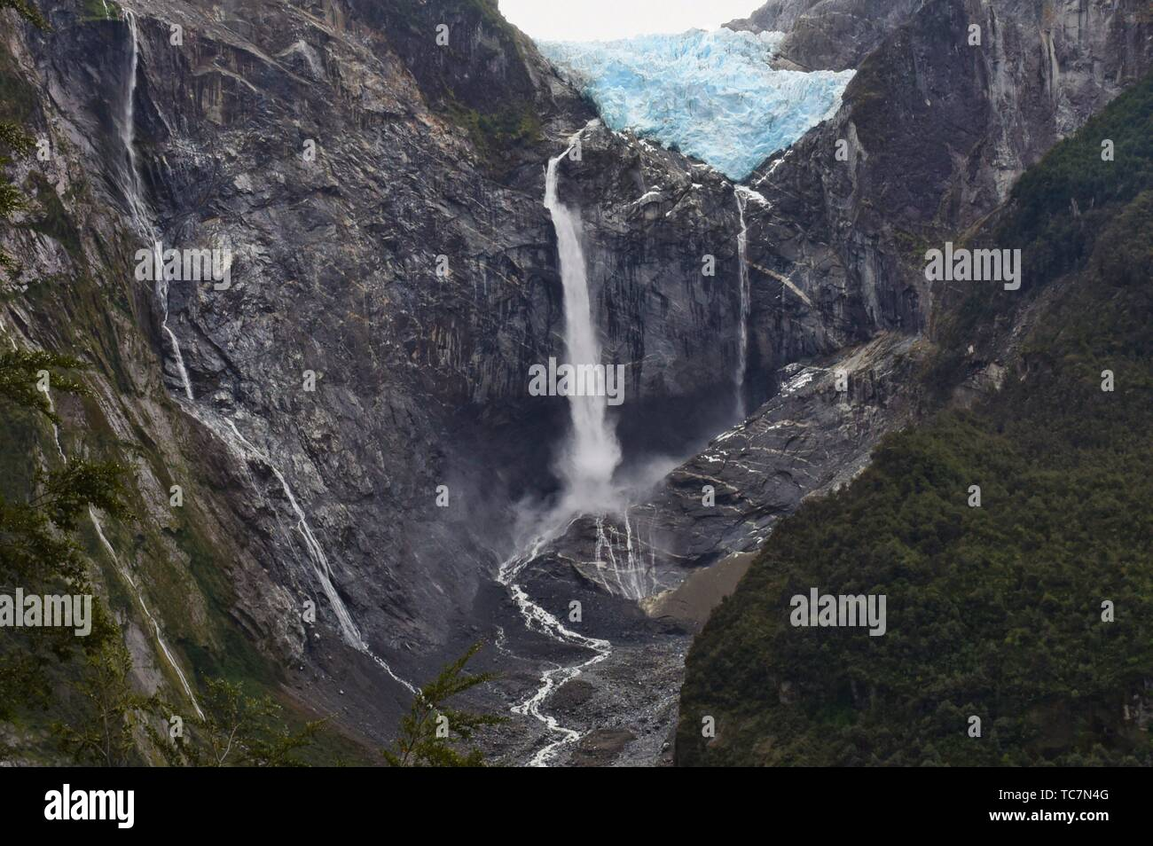Ventisquero Colgante hanging glacier in Queulat National Park, Patagonia, Aysen, Chile. Stock Photo