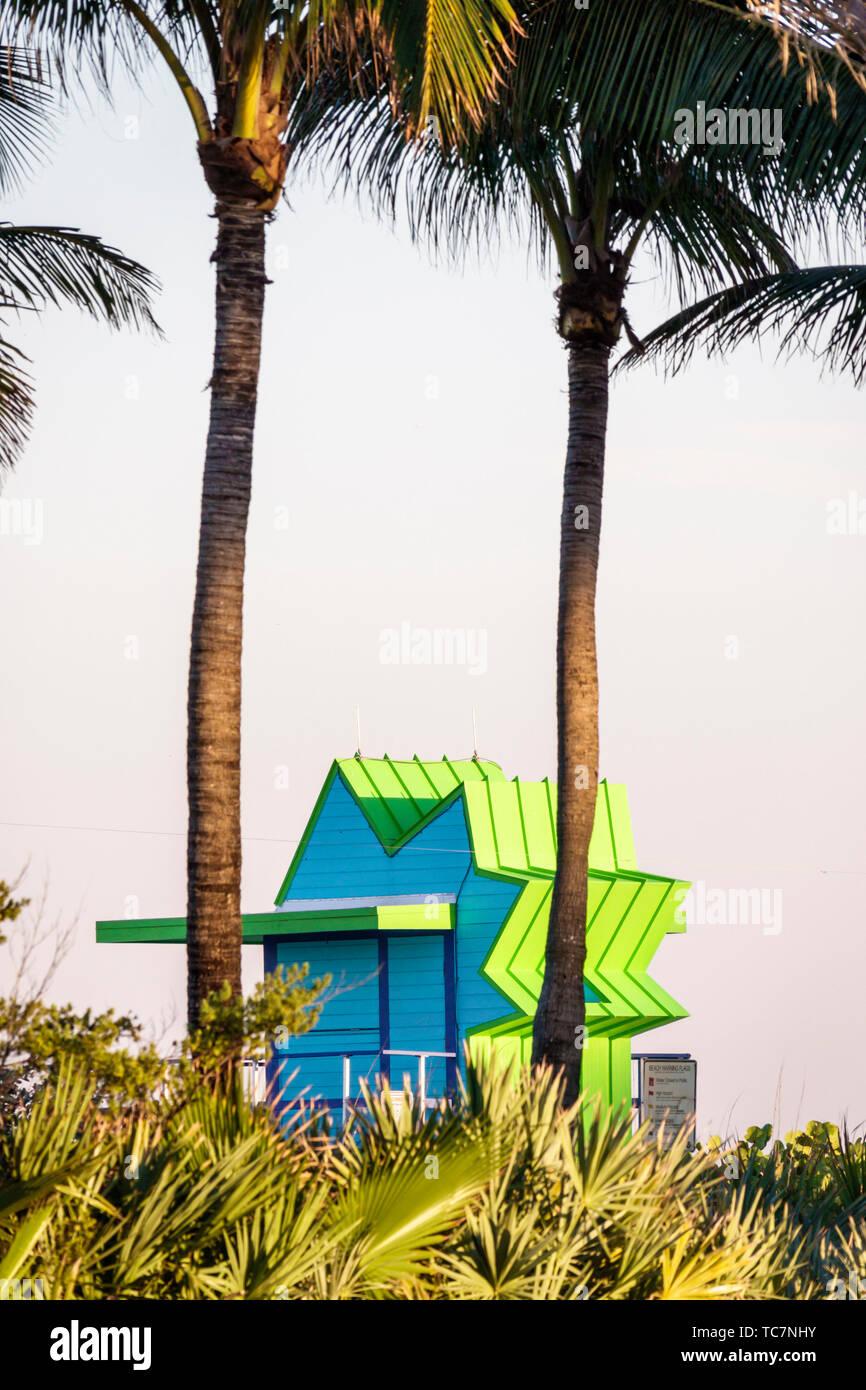 Miami Beach Florida North Beach lifeguard station palm trees - Stock Image