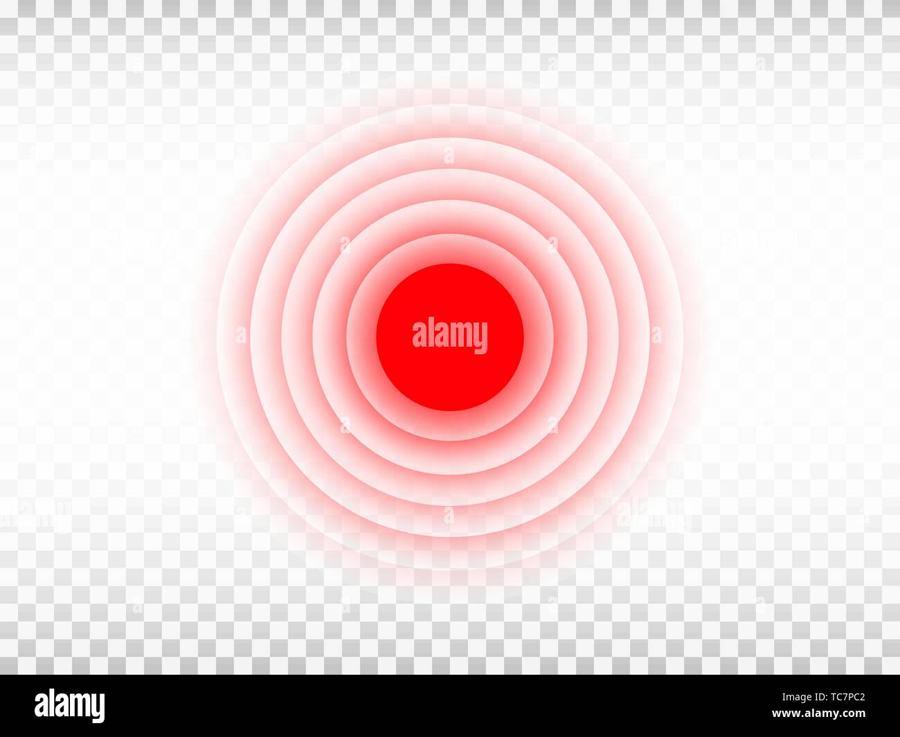 Pain red circle on transparent background. Aching place template. Medicine design element for advertisement or information banner. Painful spot mark - Stock Vector