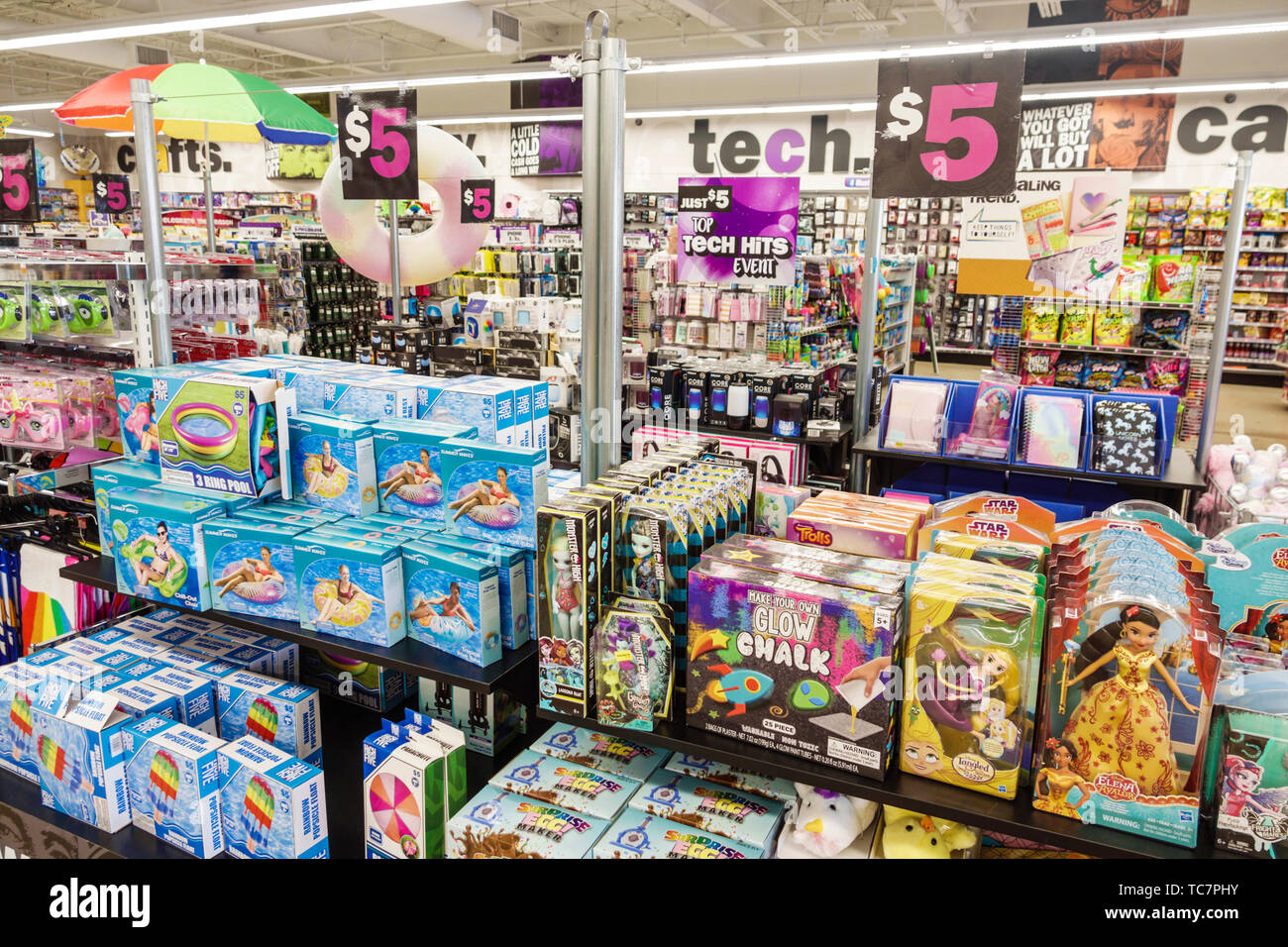 Miami Florida Five Below discount variety store inside shopping display sale inside toys floats inexpensive cheap goods - Stock Image