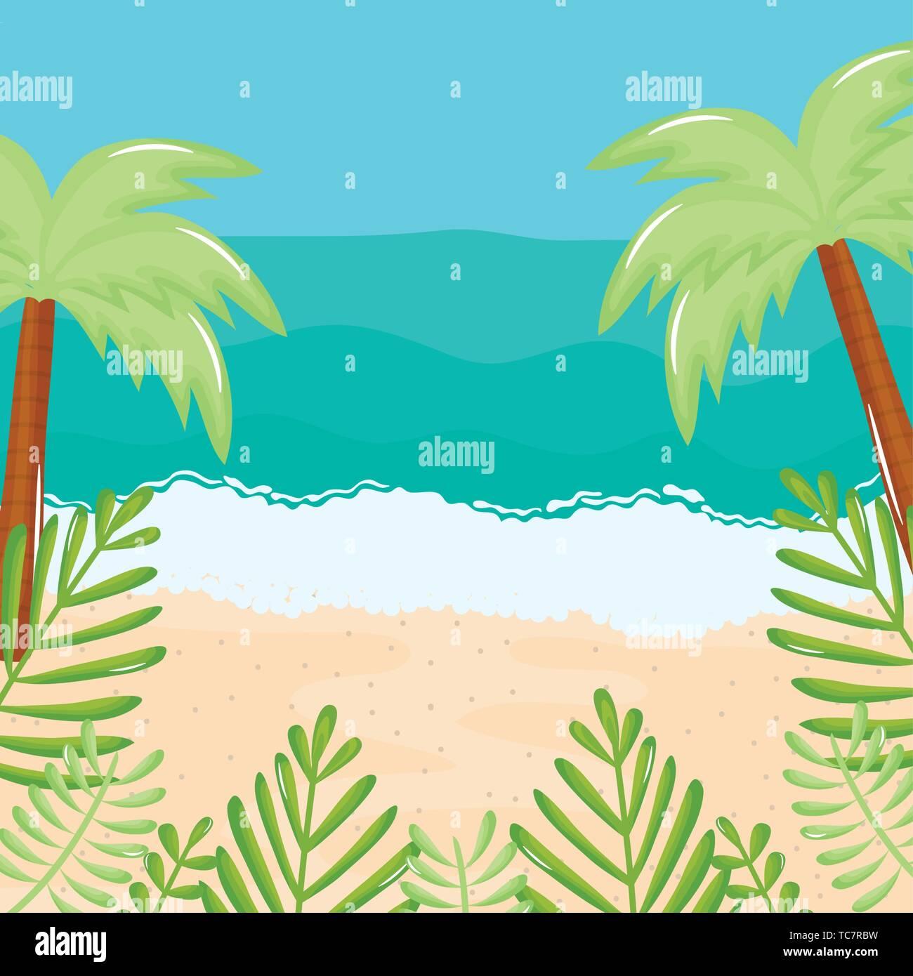 beach seascape with trees palms summer scene vector illustration design Stock Vector